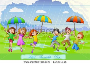 stock-vector-easy-to-edit-vector-illustration-of-kids-celebrating-friendship-day-in-rains-147381545